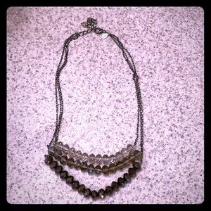 Express 3 tier gray toned jewel necklace